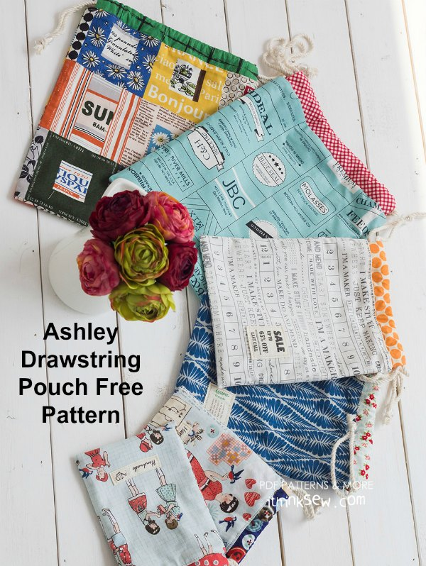 Free downloadable pattern. The absolutely adorable Ashley Drawstring Pouch comes in three convenient sizes, small, medium and large, meaning they are perfectly suited for various occasions. It's a wonderful project for anyone looking for a fantastically versatile pouch.