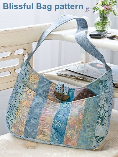 If you would like to make a quick to complete purse then this is the pattern for you. The designer says - it's so quick, in fact, that you'll want to make one for all of your quilting friends. The Blissful Bag has pockets on the outside and inside and is a handbag you can take everywhere.