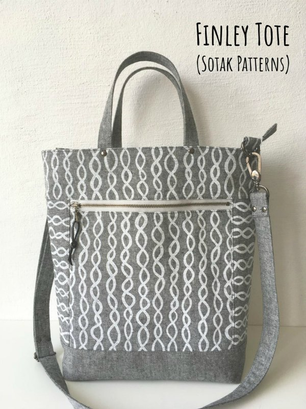 Tote bag sewing pattern, picture of tote bag example