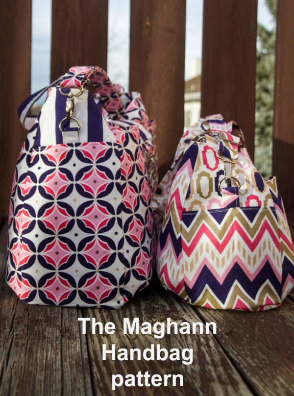 The Maghann Handbag digital pattern comes in two sizes, small and large. The handbag size is ideal to use daily as a medium-size purse, while the the large bag is great for the beach or a weekend trip. The designer describes her Maghann as having a classic style with a modern appeal.