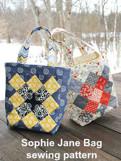 To make a Sophie Jane Bag you will use twenty-six 2½ inch squares, plus yardage and interfacing.