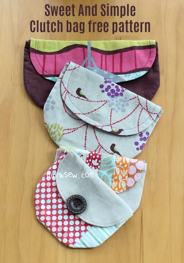 Clutch bag sewing pattern, example clutch bags in 3 different sizes