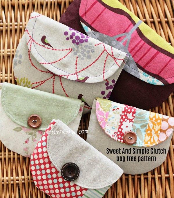 This is a really good digital pattern for a beginner sewer. It's from an excellent pattern designer and is called the Sweet And Simple Clutch bag. As a great bonus to everyone, the pattern is free and in addition, the designer has made the pattern in three sizes.