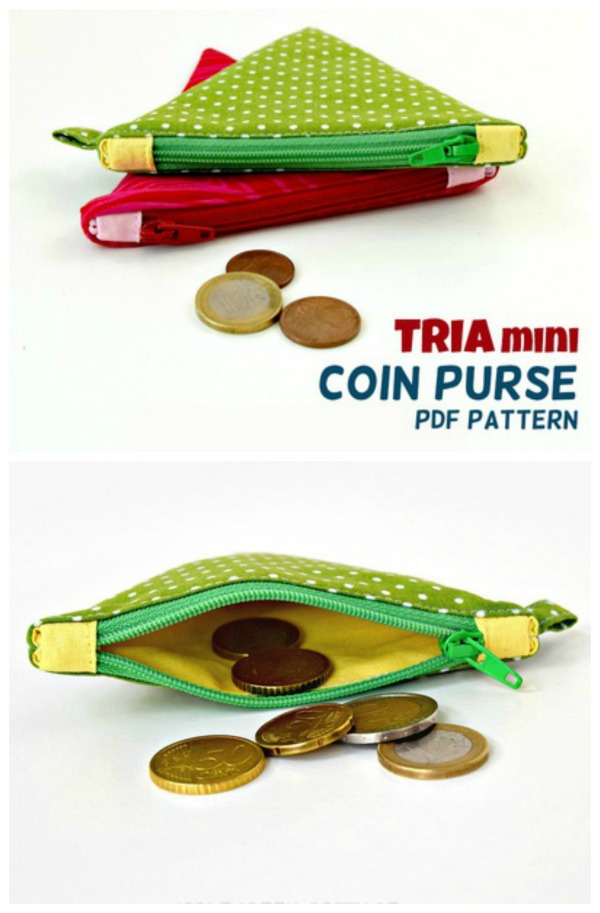 This is the Tria Coin Purse digital pattern which is a handy coin purse in a fun triangle shape. The designer has included lots of detailed sewing tips to help you get the perfect finish.