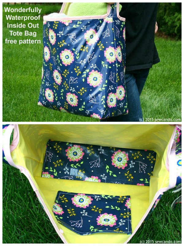 This is the free digital pattern for the Wonderfully Waterproof Inside Out Tote Bag. It's a great size tote bag that can carry loads of stuff open or closed.