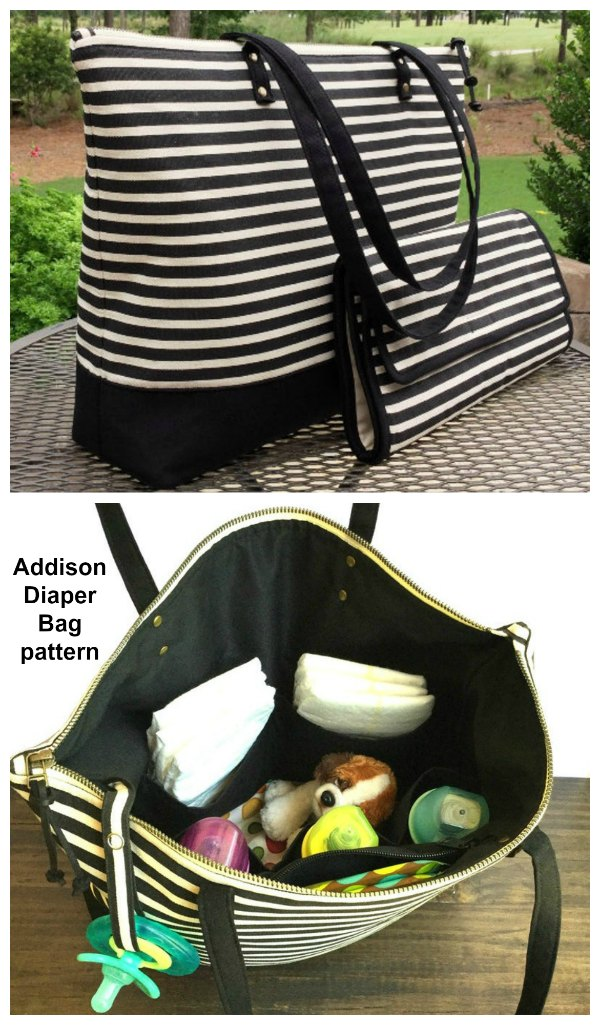 Addison Diaper Bag sewing pattern is a chic and sophisticated large tote. It has a roomy interior and many pockets.
