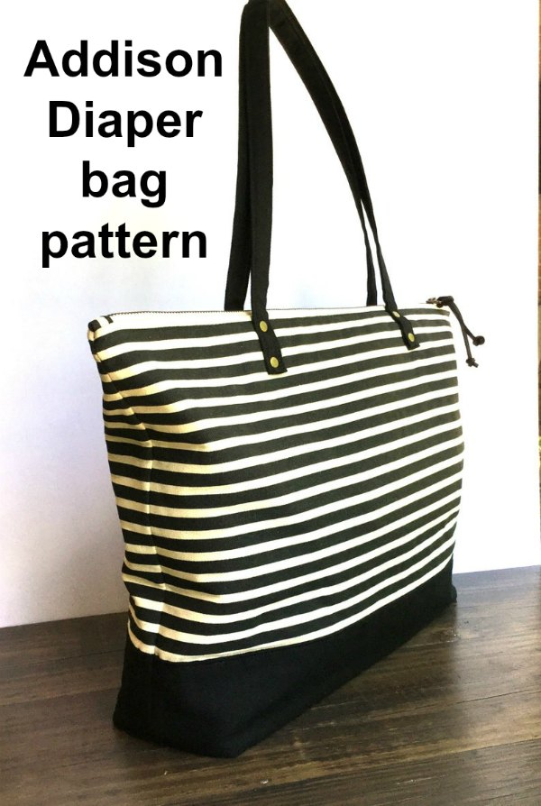 Today we are sharing with you a great digital pattern for a diaper bag. The Addison Diaper Bag is a chic and sophisticated large tote. It has a roomy interior and many pockets.