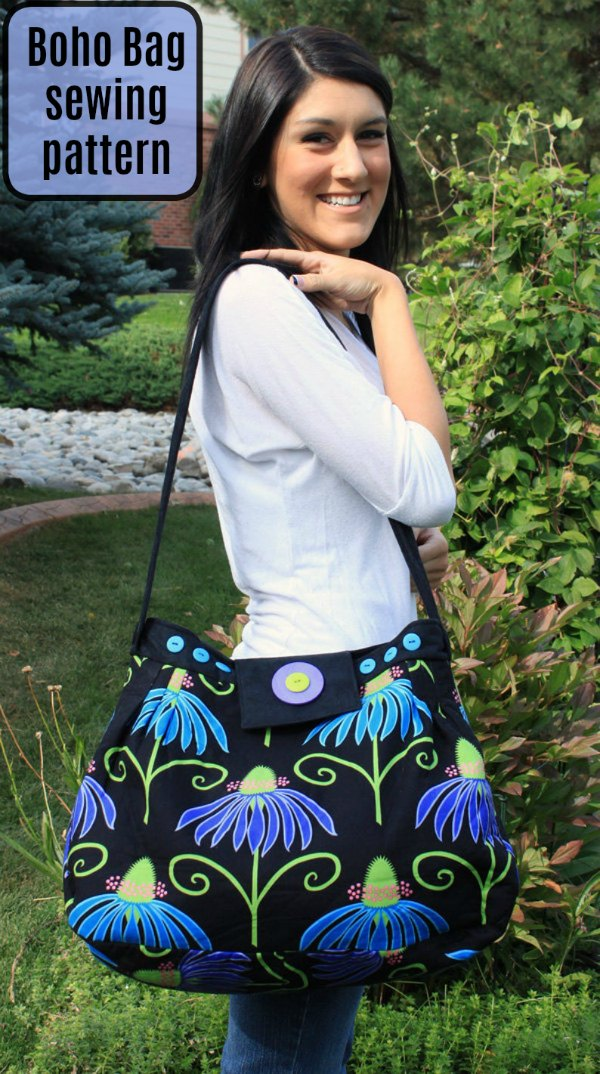 This is the digital pattern for the Boho Bag which the designer has made in two sizes. The bags are inspired by over-the-shoulder hobo bags and they go together quickly and look absolutely amazing.