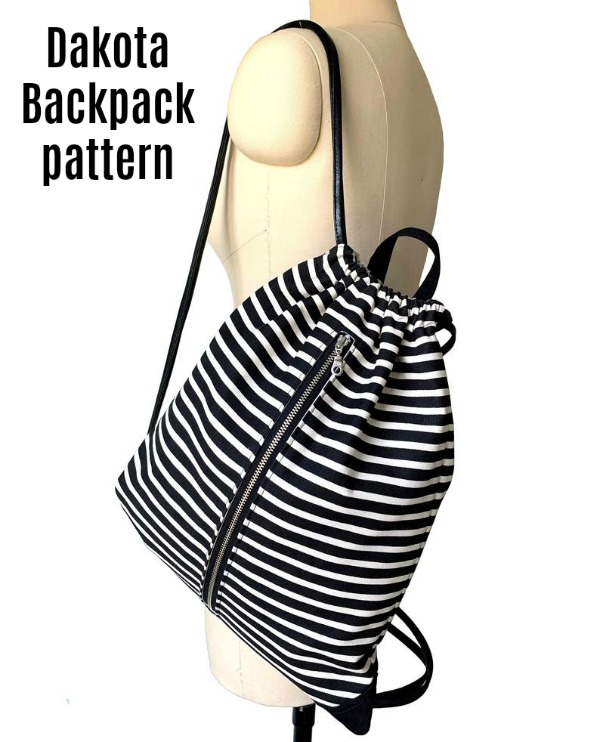 This is the Dakota Backpack pattern which has a drawstring and which can be made in two different sizes, for adults and kids. The Dakota zippered drawstring backpack is ideal to carry every day to school, work, or the gym. It's a great grab and go everyday bag.