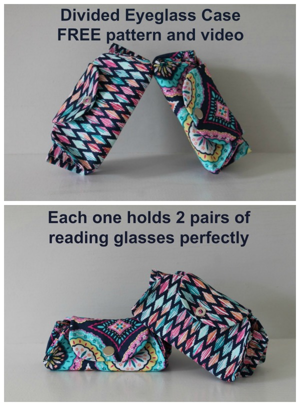 Divided Eyeglass Case FREE sewing pattern and video.
