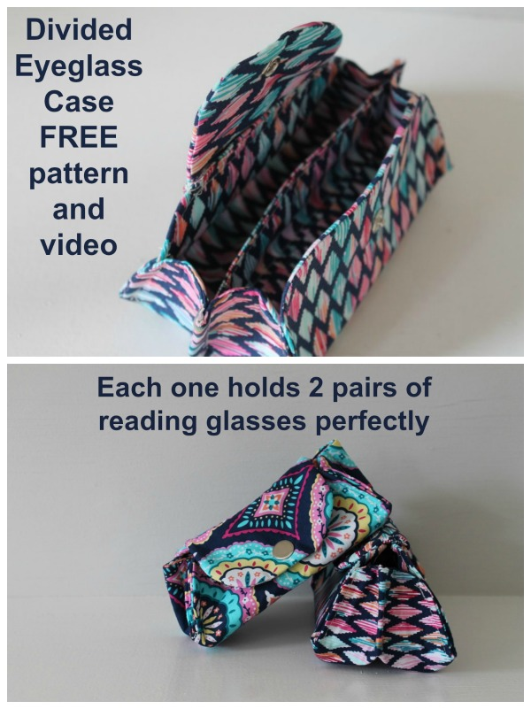 Divided Eyeglass Case FREE sewing pattern and video