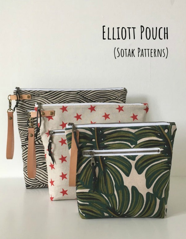 With your pdf pattern, you get to make your Elliott Zipper Pouches in any of three sizes - small, medium and large. The shape of the pouches is taller than your typical pouch meaning they are able to store even more items than normal.