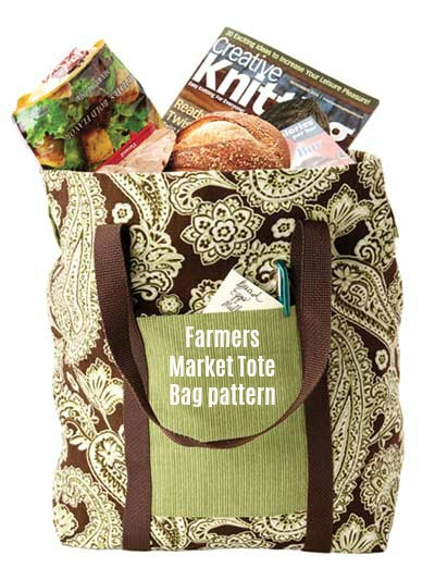 Digital sewing pattern. The Farmers Market Tote Bag is fully lined so that it is extra sturdy for all of your grocery needs. A pocket at the front has been added for you to keep your grocery list, keys and phone.
