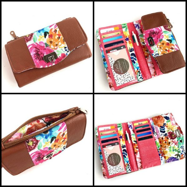 This awesome designer has made a fantastic compact trifold wallet pattern named the Marilyn Trifold Wallet, which has 10 card slots, with 1 clear ID pocket, 2 slip pockets, a pen pocket, and an exterior zippered coin pocket.