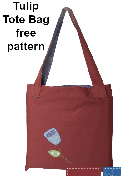 This is a downloadable pattern for a basic tote bag where the pattern is free. It's called the Tulip Tote Bag and it has been embellished with appliqué and embroidery. You can change up the look by working with different colors of thread and by adding your own hand stitching.