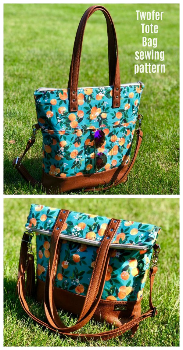 This is a tote bag pattern with a great name, it's called the Twofer Tote Bag. And why is it called the Twofer Tote Bag? That's because it's a 2-in-1 bag that goes from shoulder tote to fold-over cross-body with a quick switch in carrying positions.