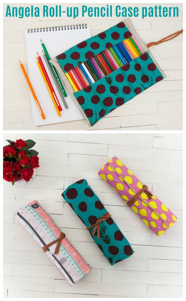 The Angela Roll-up Pencil Case is a cute and adorable project created to carry all your pens, pencils and more. It's great for organizing all your colored pencils in an orderly fashion.