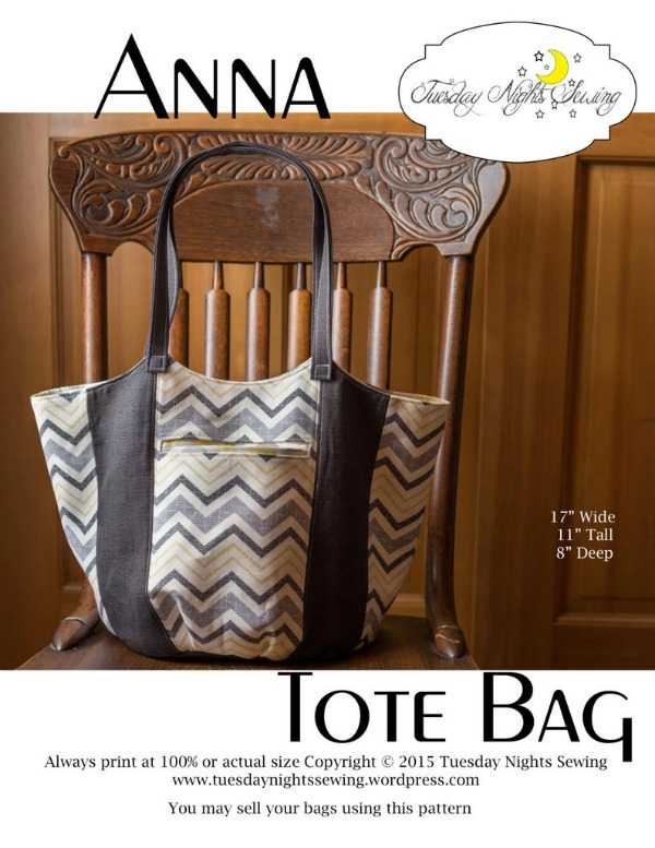 The Anna Tote Bag is a simple and fast sew that is a great bag for beginners and is easily customizable. It has great style, a roomy inside, a welt pocket in the front and a zipper pocket on the inside.