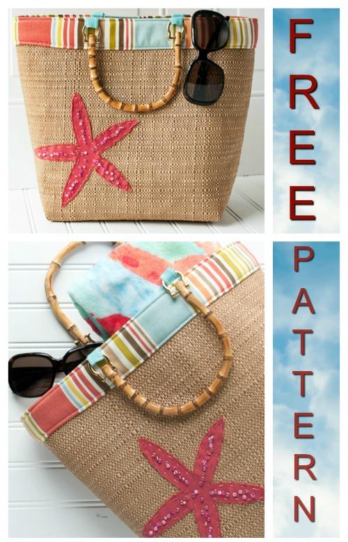 Beach Bound Straw Tote Bag - FREE pattern & tutorial