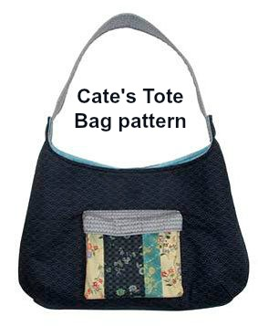 This is the Cate's Tote Bag digital pattern. When the designer designed the Cate's Tote Bag it was because style is what this small tote is all about. A boxy outside pocket, which is velcro closed, was added to keeps your keys or phone handy, while the inside compartment has a simple slip pocket to help keep things organized.