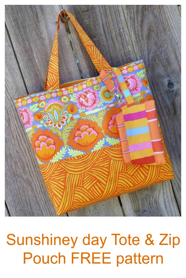 Sunshiney Day Tote & Zip Pouch FREE sewing pattern