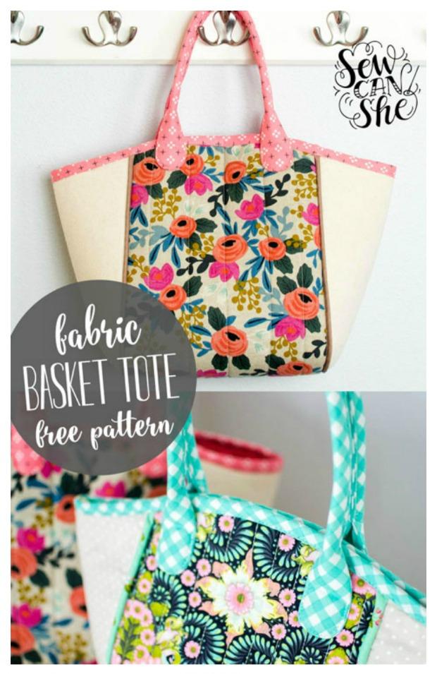 Fabric Basket Tote bag - FREE pattern