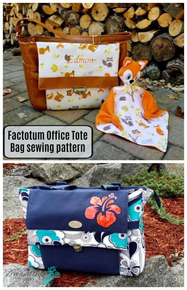 Sewing pattern for the Factotum Office Tote Bag