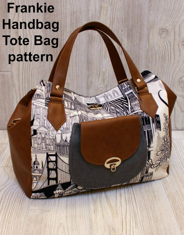 This awesome designer has created an easy-to-sew digital pattern for this spacious handbag tote. This everyday essential bag includes a patch pocket, a phone pocket and a zippered pocket, as well as a long removable strap.