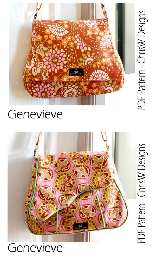 This is the sewing pattern for the Genevieve Messenger Style Handbag which comes with instructions to make three versions. You can choose from Plain with no piping, Regular flap with piping or Shaped flap, or make all three.