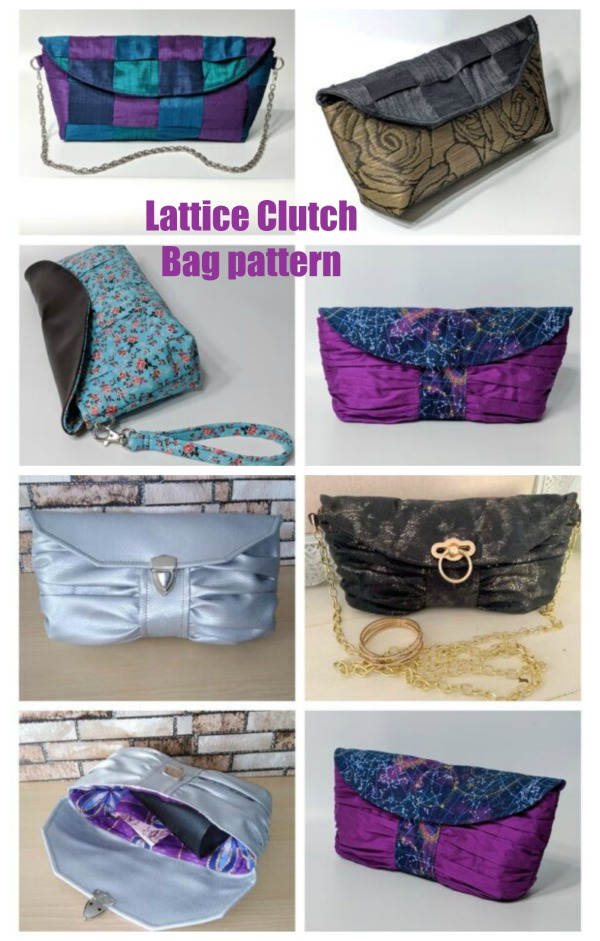 Lattice Clutch Bag pattern with 3 fun variations.