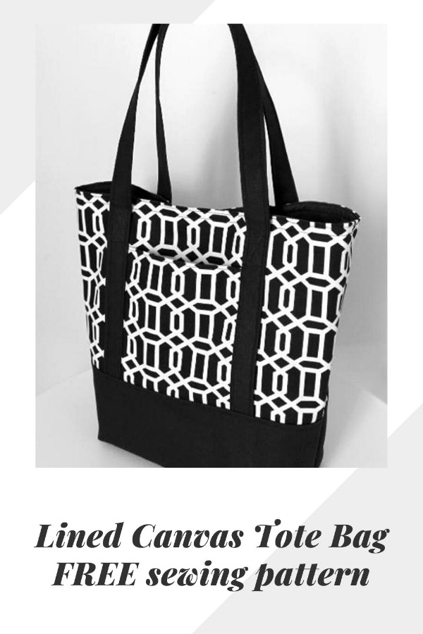 Lined Canvas Tote Bag - free pattern