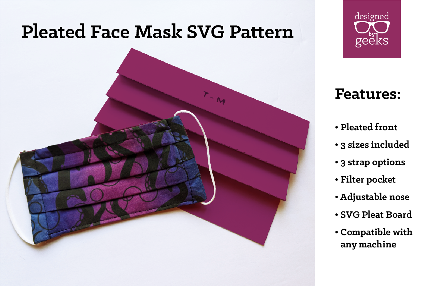Simple Pleated Face Mask Sewing Pattern by DesignedByGeeks on Creative Fabrica