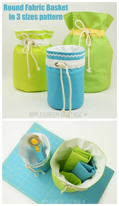 Round Fabric Basket in 3 sizes pattern