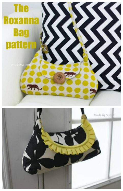 The Roxanna Bag pattern, a small pretty purse with darts.
