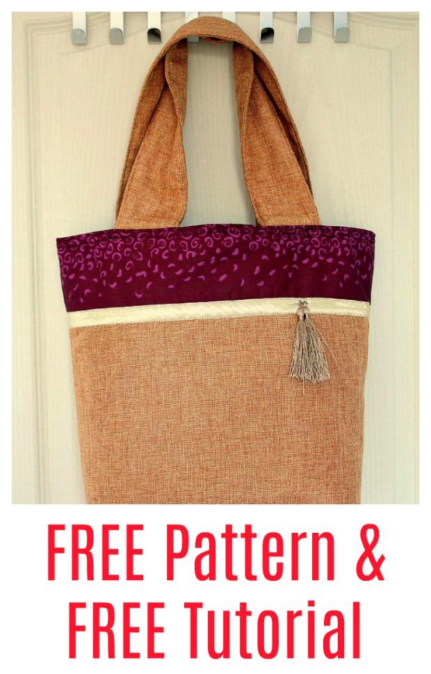 Easy Burlap Tote Bag - FREE pattern & Tutorial