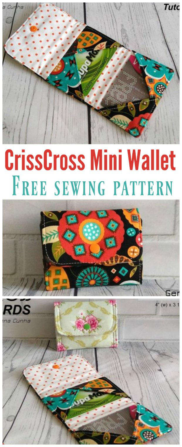 Crisscross Cards Mini Wallet FREE sewing pattern