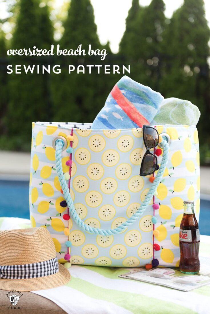 Oversized Beach Tote Bag- FREE pattern & tutorial