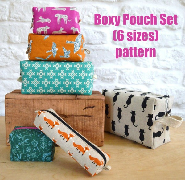 Boxy Pouch Set (6 sizes) pattern