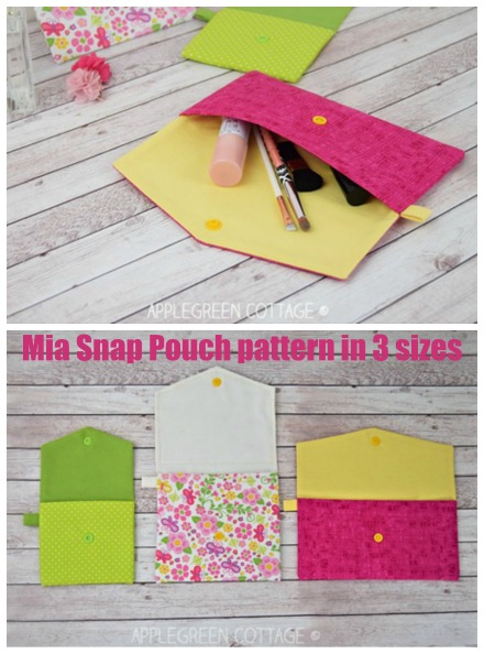 Mia Snap Pouch pattern in 3 sizes