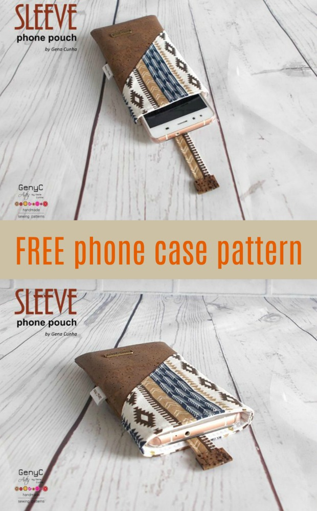 Phone case sewing pattern, two views open and closed