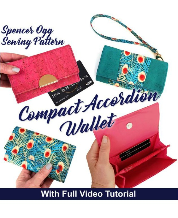 Compact Accordion Wallet (with video) sewing pattern