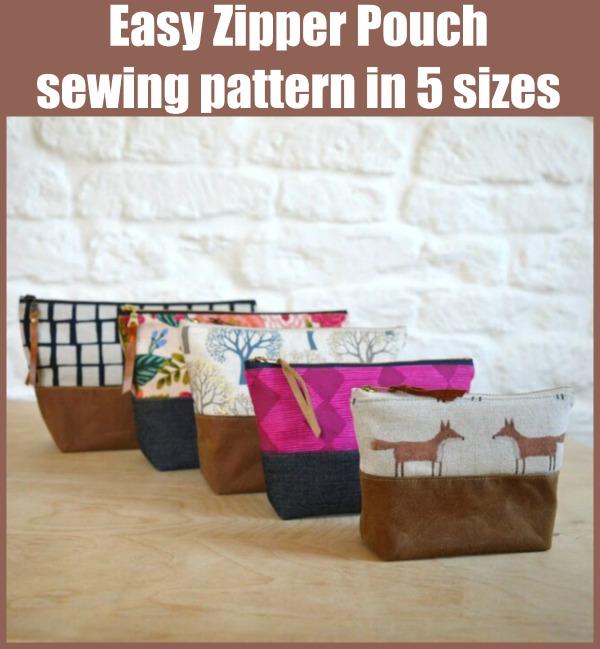 Easy Zipper Pouch sewing pattern in 5 sizes