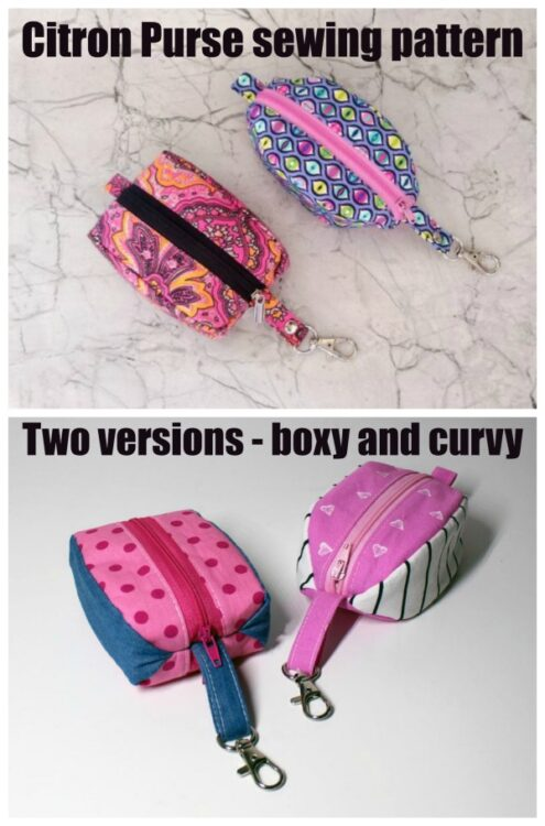 Citron Purse sewing pattern - 2 versions - boxy and curvy