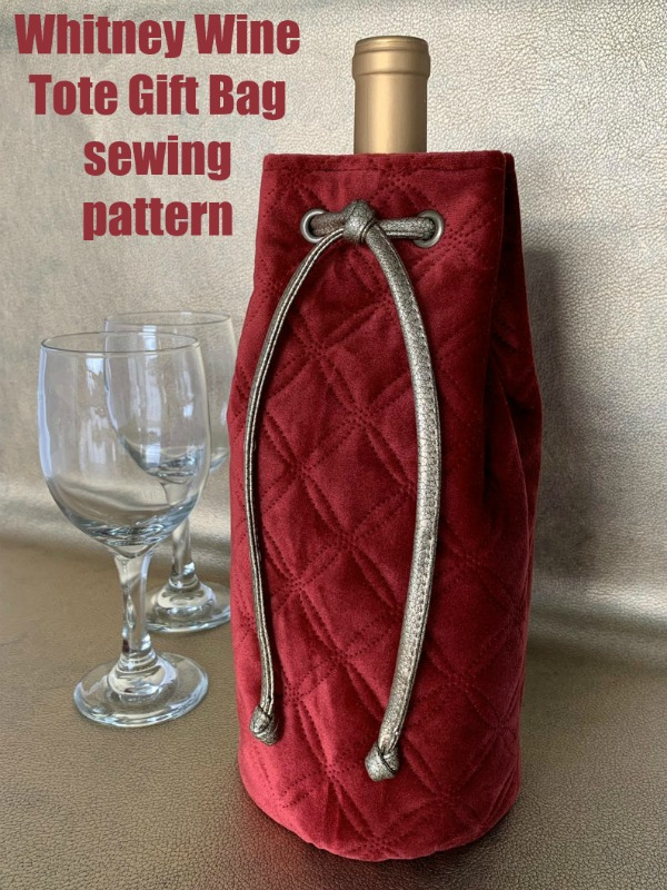 Whitney Wine Tote Gift Bag sewing pattern