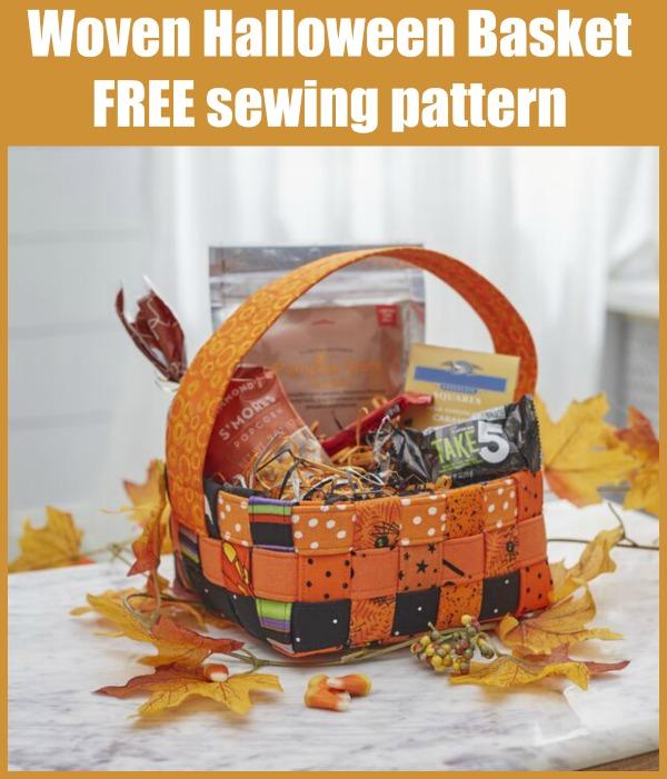 Woven Halloween Basket FREE sewing pattern