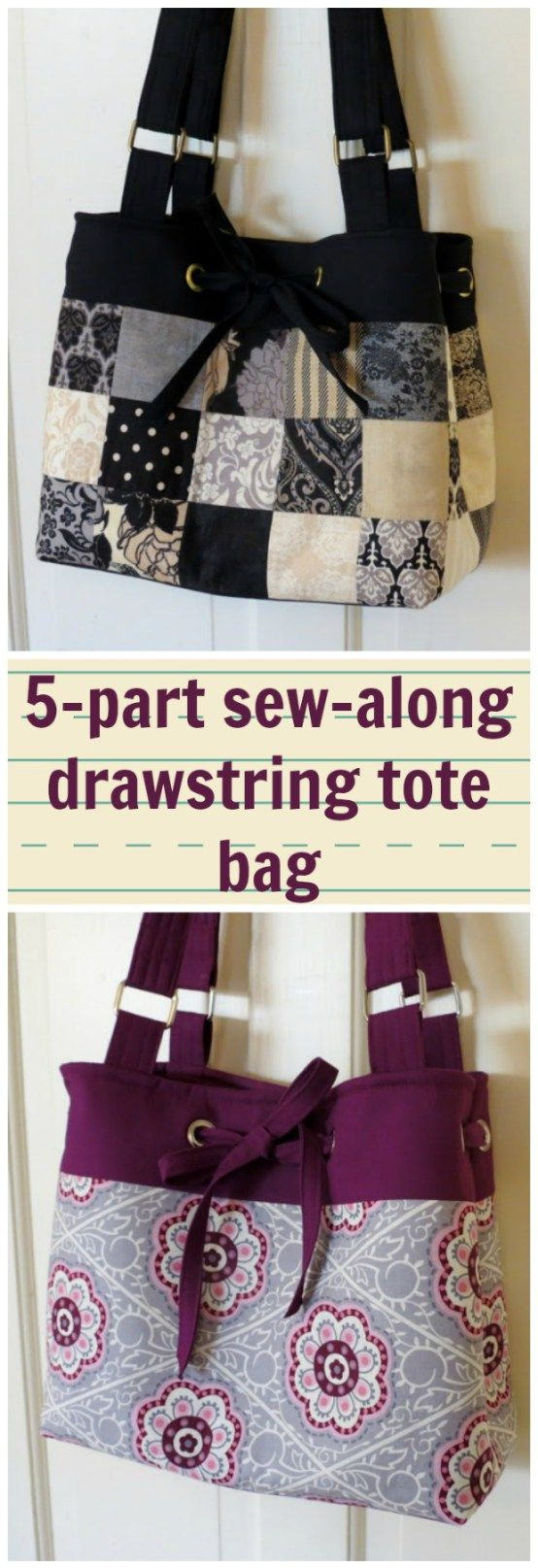 Full 5-part sew-along tutorial for how to make this drawstring purse