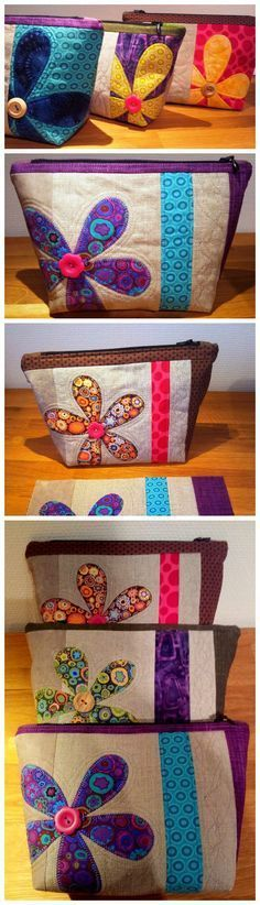 Quilted floral cosmetics bag