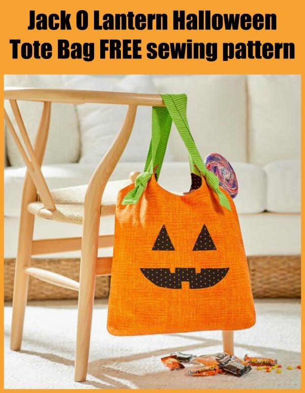 Jack O Lantern Halloween Tote Bag FREE sewing pattern