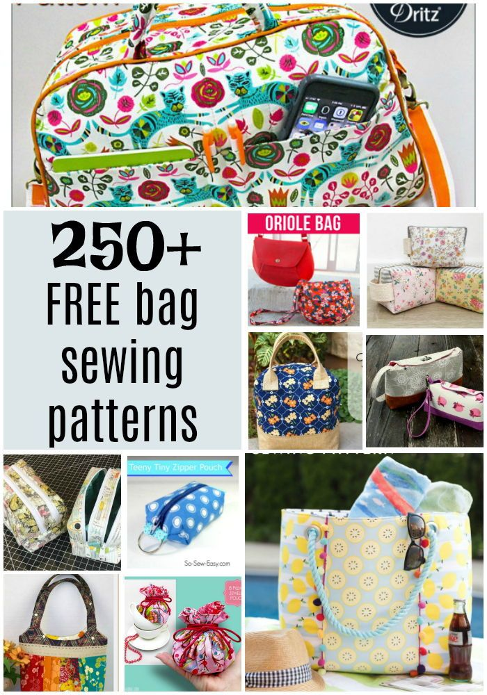 250+ FREE bag and purse sewing patterns