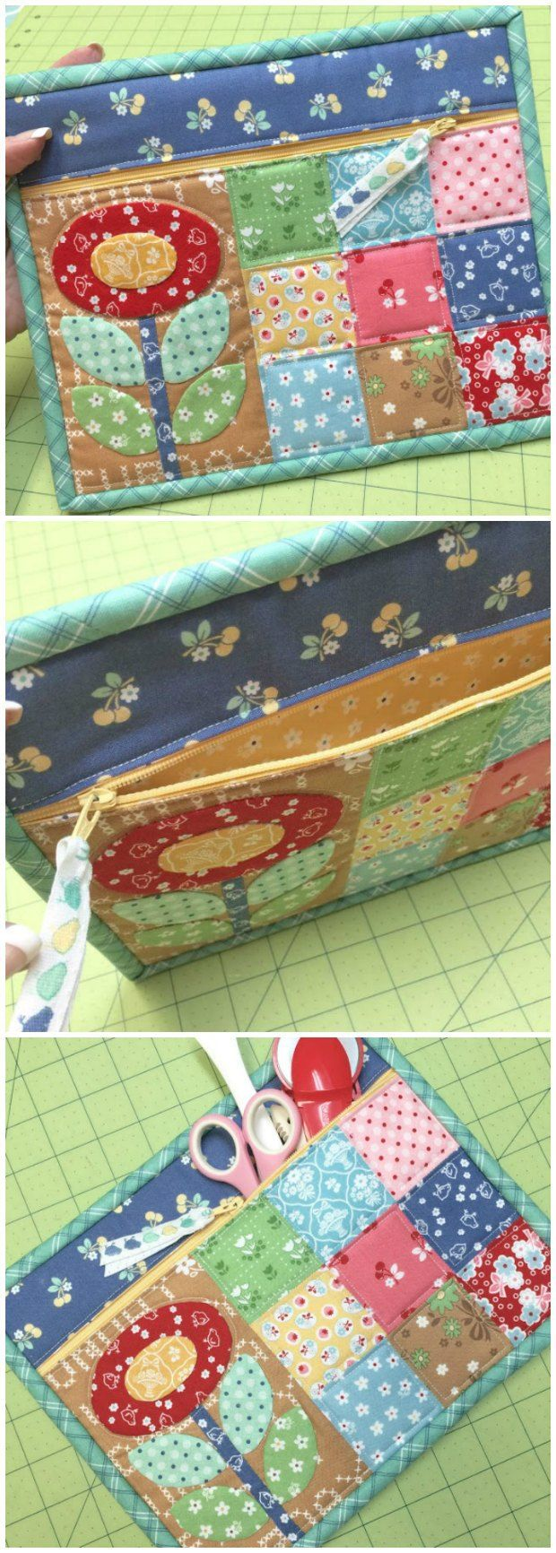 Quilty Zipper Pouch - free pattern and tutorial